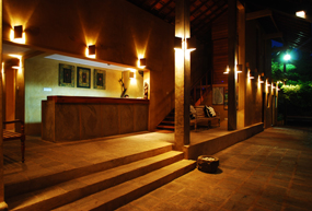 jetwing ayurveda pavilions entrance at night